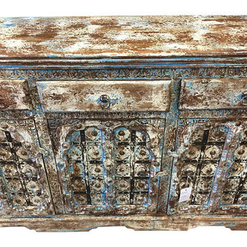 Vintage Sideboard Media Console Buffet Distressed Blue Patina Dresser Chest with Drawers