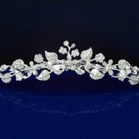 SparklyCrystal Girl Tiara Comb With Crystal Flowers and Leaves C5235