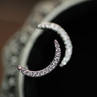 Crescent Moon Rhinestone Earrings - LilyFair Jewelry