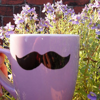 Mr Teacup's lilac moustache mug by MrTeacup on Etsy