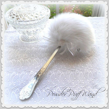 White Powder Puff Wand - bright white lolli puff with handle - silky soft plush by Bonny Bubbles - gift boxed