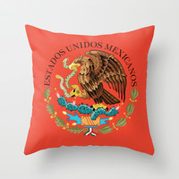 Close up of the Seal from the National flag of Mexico Throw Pillow by Bruce Stanfield
