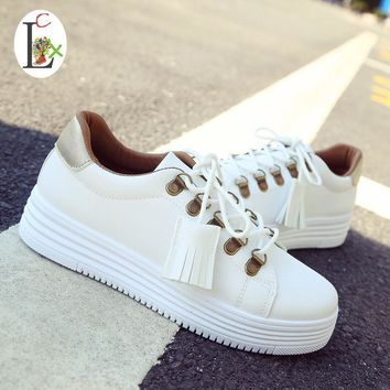 LCX fringe tassel new balance 2017 women shoes zapatos moccasins canvas shoes white sh
