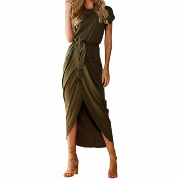 Women's Boho Style Olive Green Criss Cross Front Short Sleeve Midi Length Maxi Dress With Tie