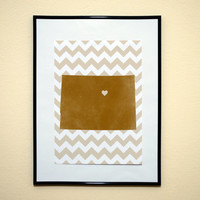 Chevron Pattern State of Colorado With a Heart Art Print 8x10 Inches Buy 2 Get 1 Free