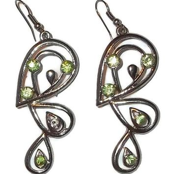 "Vintage Peridot Green Crystal Triple Teardrops 2.75"" Silver Tone Dangle Earrings"