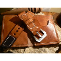 Leather Wallet bifold and watch strap 24mm