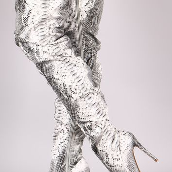 Liliana Snakeskin Slouchy Pointy Toe Over-The-Knee Stiletto Boots