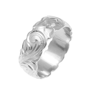14K WHITE GOLD HAND ENGRAVED HAWAIIAN PLUMERIA SCROLL BAND RING CUT OUT 8MM