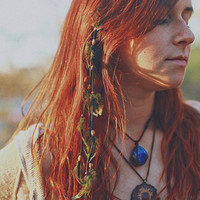 Green Cascading Leather and Feather Clip Hair Extension - Boho - Southwestern - Native American