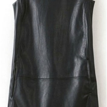 Manu Plus Size 7XL Faux Leather Dresses For Women Summer Style Black Midi Skater Dresses