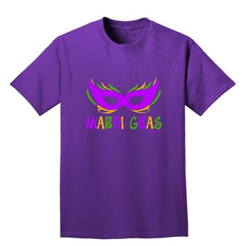 Mardi Gras - Purple Gold Green Mask Adult Dark T-Shirt by TooLoud