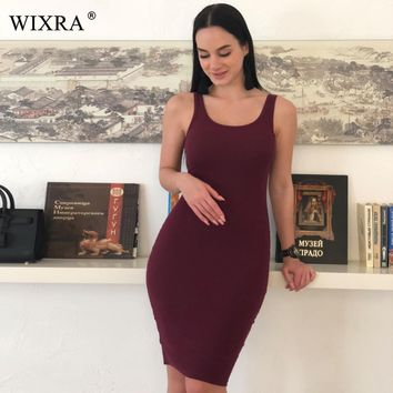 WIXRA Basic Vest Dress Women High Stretch Ribbed Knit Dress Summer Solid Brief Casual Dress Bodycon Pencil Midi Day Dresses