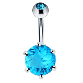 SwanJo1Pc Belly Bar Button Ring With Gem Navel  Pirsing Body Piercing Jewelry Pircing Omblig Piercing Umbigo 5 Colors Can Choose