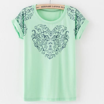 National Style Women's Short Sleeve T-shirt Print Elephant Flowers Summer Tops Tees T shirt With Roll Up Sleeve 16 Colors