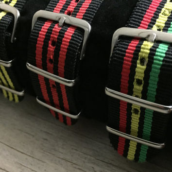 Nylon Nato Style Watch Strap, 22mm wide, Comes in Red/Black, Yellow/Black, Black, Blue/Black, Green/Black/Red and Jamaican Flag Colors