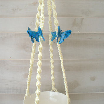 Macrame with Butterflies, Large Macrame Plant Hanger, Indoor Plant Holder, Macrame Pot Holder with Ceramic Butterflies