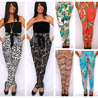 PRINTED HAREM PANTS ALADDIN JEANNIE TAPERED STYLE BAROQUE CHAIN SCARF LEOPARD
