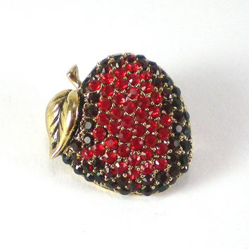 Monet Red Rhinestone Apple Brooch Pin - Vintage Collectable Jewelry - Holiday Gift Idea For Teachers