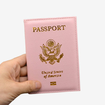 Cute Soft PU leather USA Passport Cover Passport Case