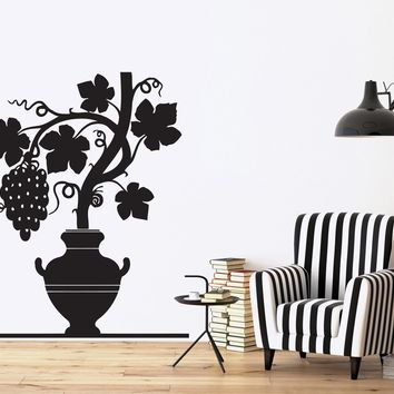 Vinyl Decal Nature Wall Stickers Grapevine Ripe Bunch Pitcher Carved Leaves Unique Gift (n361)