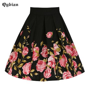 Qyibian Middle age Women Roses Floral Printed Midi Skirts Plus Size XXL 2017 black High Waist Pleated Skater Flared Skirt Saia
