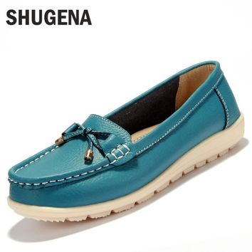 2016 new Summer genuine leather women flats shoes female casual flat women loafers sho