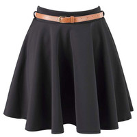 Black Belted Skater Skirt at Fashion Union