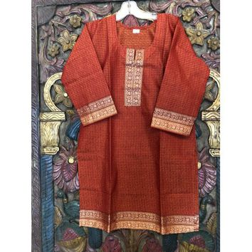Mogul Women Orange Long Tunic 3/4 Sleeves Cotton Comfy Summer Fashion Ethnic Indian Kurti Dress S/M - Walmart.com