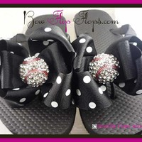 Black & White Polka Bow Bling Baseball Flip Flops