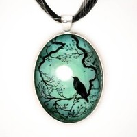 Raven in Teal Silhouette Handmade Jewelry Art Pendant