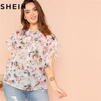 SHEIN Bohemian Floral Print Ruffle Sleeve Tied Neck Plus Size Women Blouse Summer Fashion Flower Flutter Boho Thin Blouses