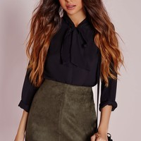 Missguided - Bonded Faux Suede Mini Skirt Khaki