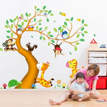 Nursery Room Decor wall stickers for kids rooms oversize Jungle Animals Tree Monkey Owl Removable Cartoon Wall Decal Art Sticker