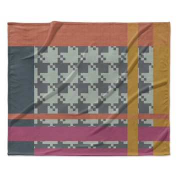 "Pellerina Design ""Houndstooth Color Block"" Multicolor Contemporary Fleece Throw Blanket"
