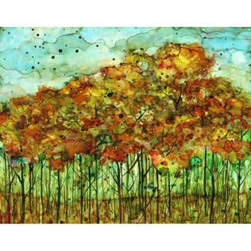 """Autumn Forest"" Alcohol Ink Painting"