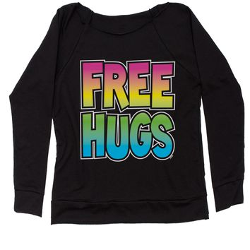 Free Hugs Slouchy Off Shoulder Oversized Sweatshirt