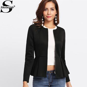 Sheinside Zip Up Box Pleated Peplum Jacket Black Round Neck Ruffle Hem Tiered Layer Elegant Outerwear Women Slim Jacket