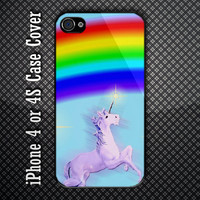 Rainbow Unicorn Custom iPhone 4 or 4S Case Cover