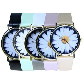 Vintage Style Women's Student's Daisy Wrist Watch Quartz Analog Faux Leather Flower Pattern  GIL = 6014849991