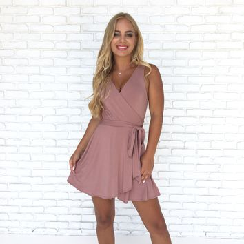 Angel Jersey Wrap Romper In Pink