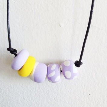 Pastel Geometric Polymer Clay Necklace / Lavender and Yellow