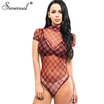 Simenual Sheer checkerboard turtlenecks bodysuits summer clothing sexy hot plaid one piece bodysuit women bandage jupsuits