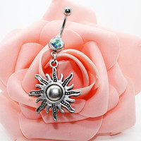 Belly button ring,Sunflower belly ring,Friendship belly ring,Celestial belly ring