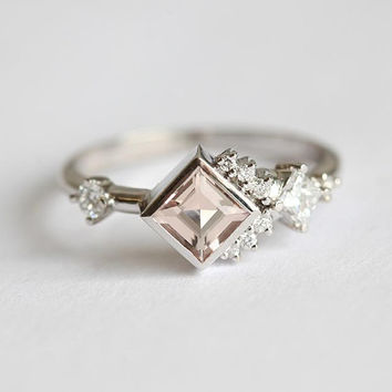 Engagement Ring, Diamond Cluster Ring, Cluster Engagement Ring, Morganite Engagement Ring, Morganite Diamond Ring, Princess Cut Ring