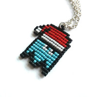 Pac Man Santa Necklace, Retro jewelry, 8bit jewelry, beaded jewelry, Geekery, Geek jewelry, Handmade, handbeaded