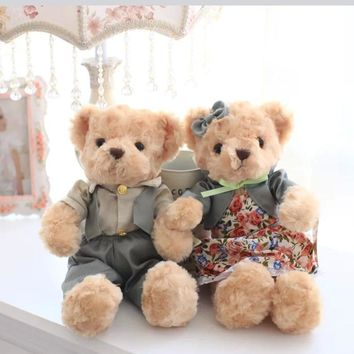 a pc/pair 30cm mini teddy bear plush toy  kids toys baby appease doll cute couple bear gift  for children and girlfriends
