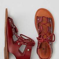 AEO Ankle Cuff Lace-Up Sandal, Wine