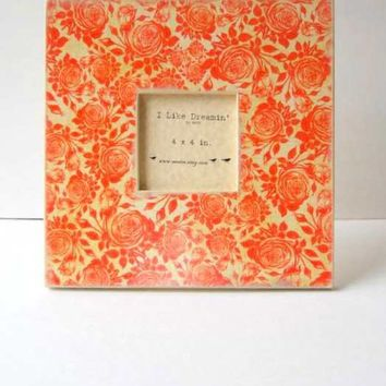 Fierce Rose Thicket  12 x 12 Wood Frame by Mmim on Etsy