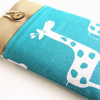 Ipad mini  case, Ipad mini cover, Ipad mini sleeve with pocket-turquoise giraffe.
